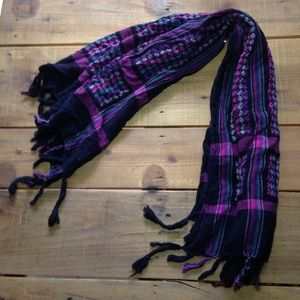 Accessories - Women's Fringe Blue and Pink Design Scarf